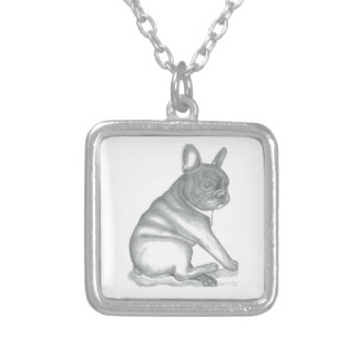 French Bulldog sketch necklace