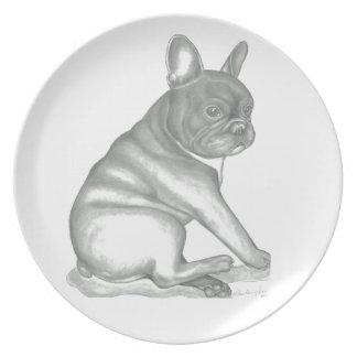 French Bulldog sketch plate