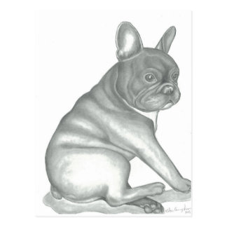 French Bulldog sketch postcards
