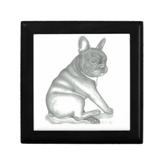 French Bulldog Sketch Wooden Jewelry Keepsake Box
