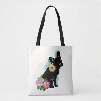 French Bulldog Tote bag | floral art design