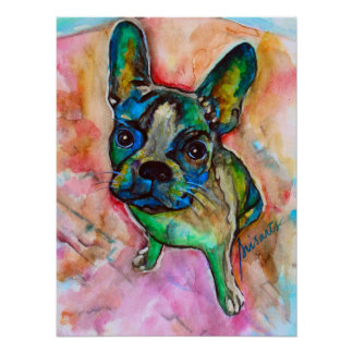 French Bulldog Watercolor Painting Poster