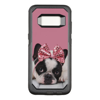 French Bulldog Wearing Pink OtterBox Commuter Samsung Galaxy S8 Case