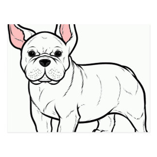 french bulldog white cartoon postcard