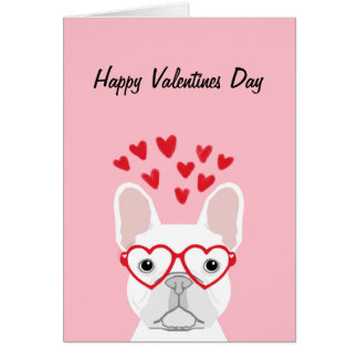 French Bulldog - white happy valentines day card