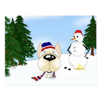French Bulldog Winter Scene Postcard