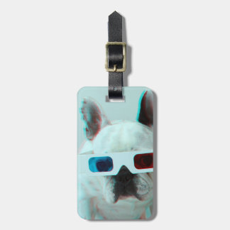 French Bulldog With 3D Glasses Luggage Tag