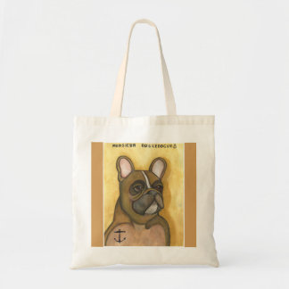 French Bulldog with anchor tattoo tote