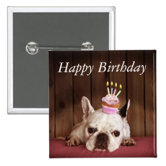 French Bulldog With Birthday Cupcake 2 Inch Square Button