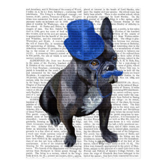French Bulldog With Blue Top Hat and Moustache Postcard