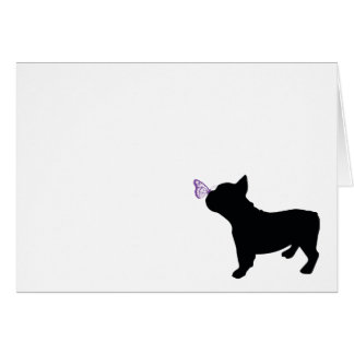 French Bulldog with Butterfly Blank Card
