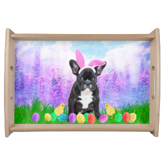 French Bulldog with Easter Eggs Bunny Chicks Serving Tray