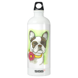 French Bulldog with flower collar Water bottle