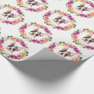French Bulldog with Flowers Gift Wrap