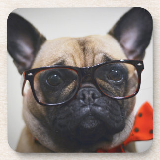 French Bulldog With Glasses And Bow Tie Coaster