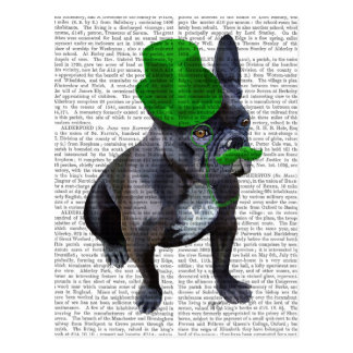 French Bulldog With Green Top Hat and Moustache Postcard