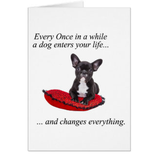 French Bulldog with heart and nice quote Card