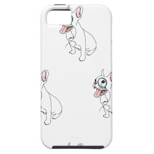 French bulldog with monocle pattern iPhone 5 cases