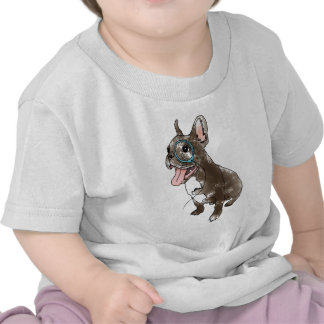 French bulldog with monocle t-shirt