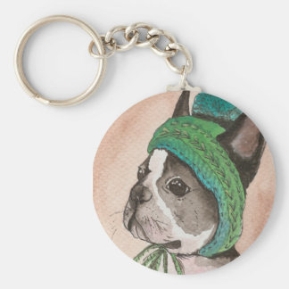French bulldog with wool cap basic round button keychain