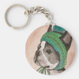 French bulldog with wool cap keychain