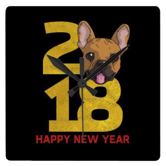 French bulldog Year of the Dog 2018 New Year clock