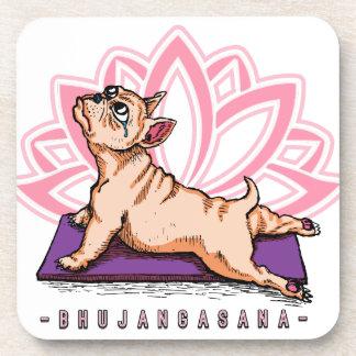 French Bulldog Yoga - Bhujangasana Pose - Funny Coaster