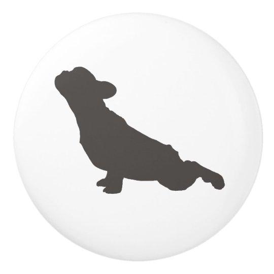 French Bulldog Yoga Pose Ceramic Knob