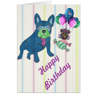 French Bulldogge greeting maps Card