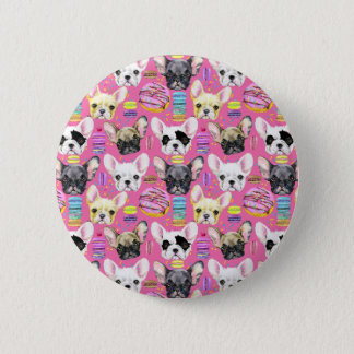 French Bulldogs and Rainbow French Macaron Cookies 2 Inch Round Button