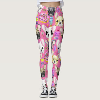 French Bulldogs and Rainbow French Macaron Cookies Leggings