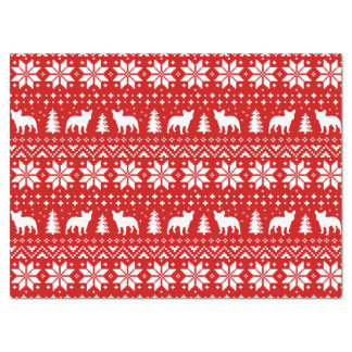 French Bulldogs Christmas Sweater Style Pattern Tissue Paper