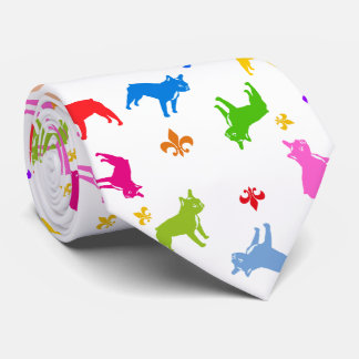 French Bulldogs colorfull Tie