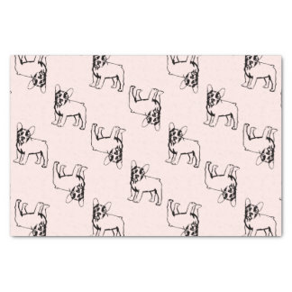 French Bulldogs white and black Tissue Paper