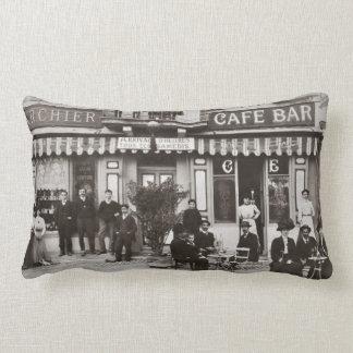 French cafe bar street scene lumbar pillow