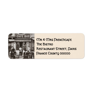 French cafe bar street scene return address label