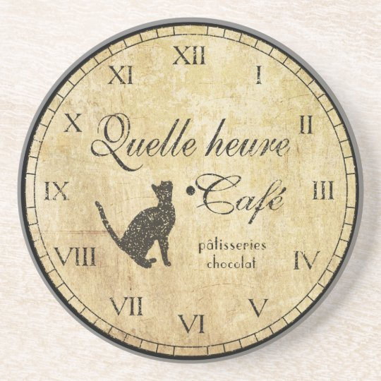 French Cafe Clock Coaster