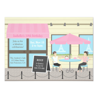French Cafe Paris Birthday Party Invitations