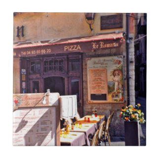 French cafe scene tile