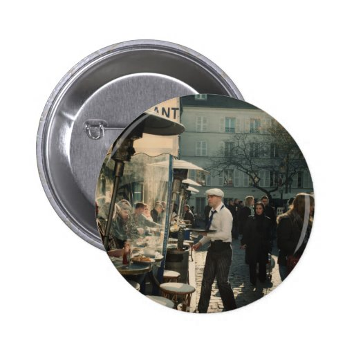 french cafe waiter pinback button