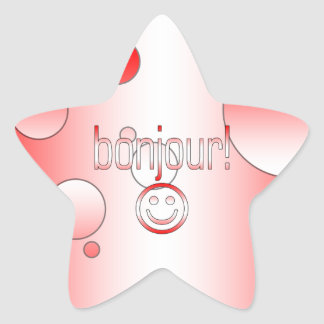 French Canadian Gifts Hello Bonjour + Smiley Face Star Sticker