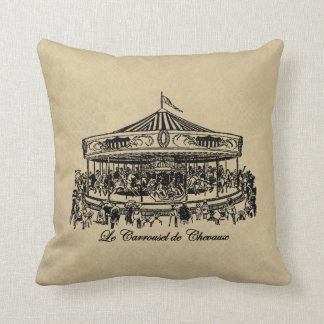 French Carousel Horses Apparel and Gifts Throw Pillow