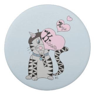 French cat kisses & hugs kid eraser
