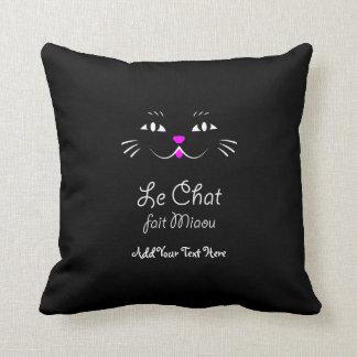 French Cat Says Miaou Cute Cartoon Cat Face Throw Pillow