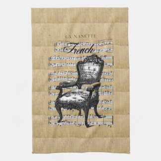 French Chair on Burlap Kitchen Towel