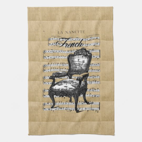 French Chair on Burlap Towels