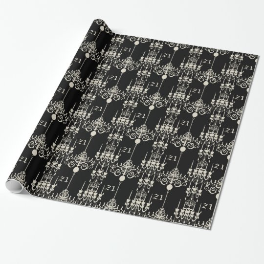 French chandelier black beige cream wrapping paper