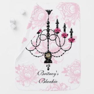 French Chandelier Pink Floral Garden Baby Blankets