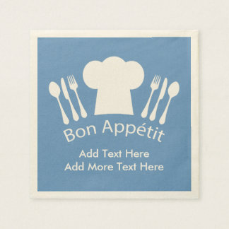 French Chef Bon Appetit Add Your Own Text Paper Napkins