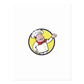 French Chef Welcome Greeting Circle Cartoon Postcard